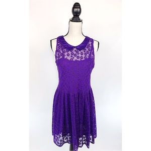 FREE PEOPLE Lace Peter Pan Collar Dress Floral - L